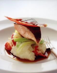 Salmon on mash